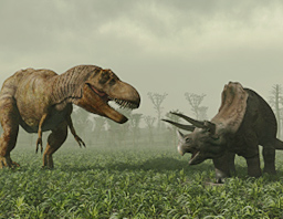 two fearsome dinosaurs facing off ready to fight