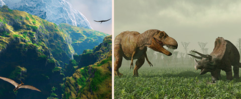 two pics, pterodactyls soar through a jungle valley, two aggressive dinosaurs face off