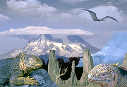 giant lizards bask in the foreground, huge snow-capped mountain in background, pterodactyl overhead