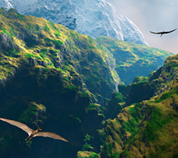 pterodactyl flying through jungle valley