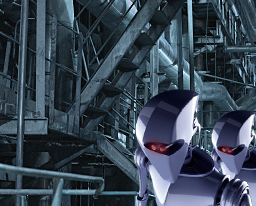 robot walking through underground robotics factory