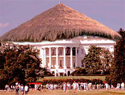 the white hut looks identical to the famous white house except it has a thatched roof
